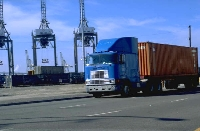 Photo of a truck at a port